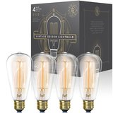 Dimmable Vintage Edison Light Bulb with Exposed Filaments (60w 4-Pack) amazon review