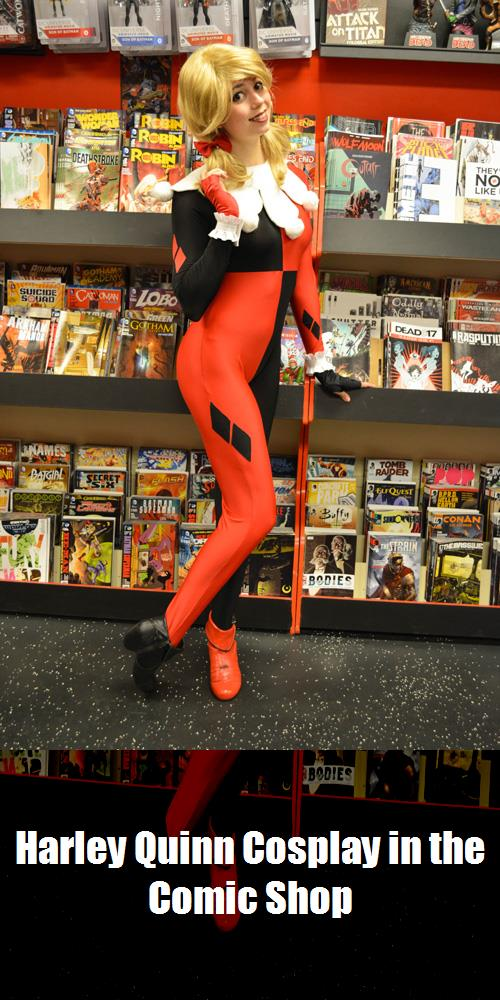 Harley Quinn Cosplay In The Comic Shop