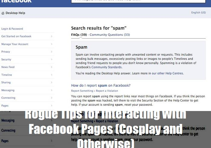 Rogue Tips For Interacting With Facebook Pages Cosplay And Otherwise